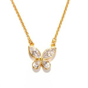 kate spade clear crystal butterfly necklace